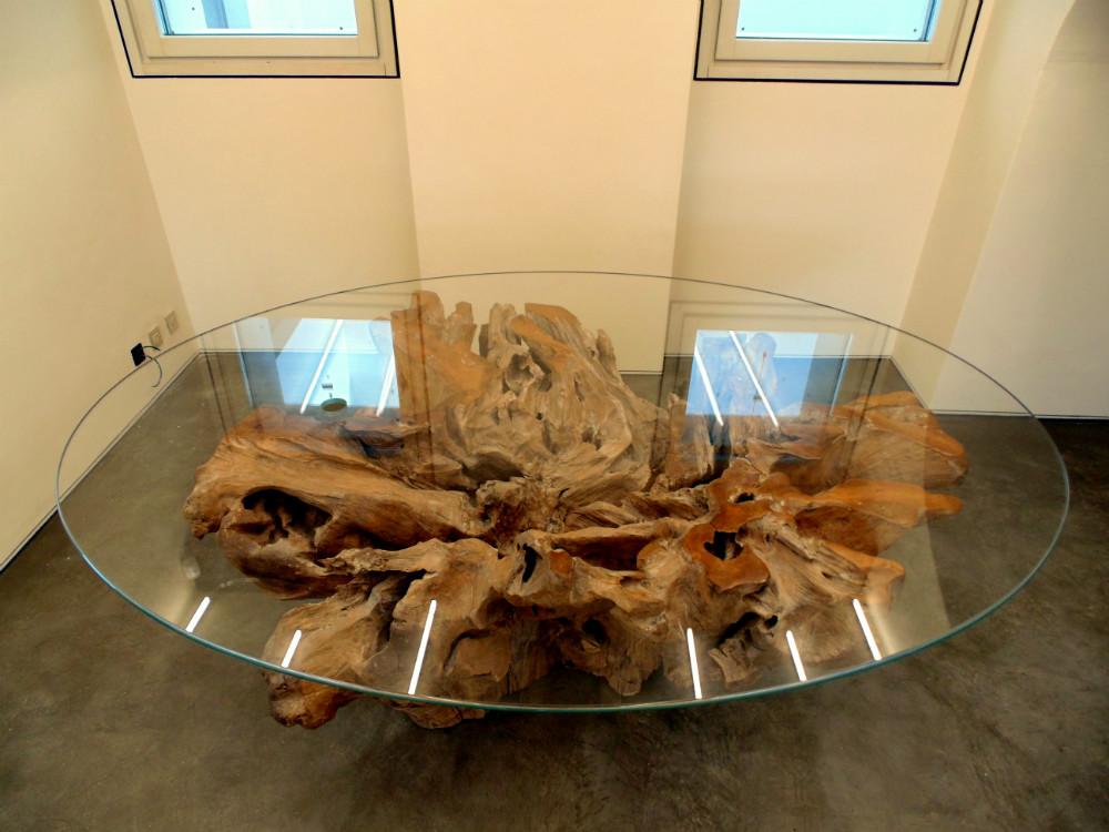 Tavolo ulivo e cristallo for Tavolo legno e cristallo